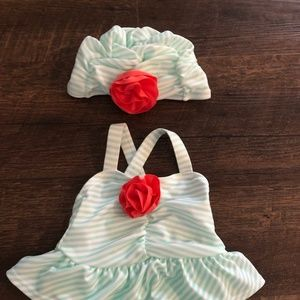 Gymboree 0-3 month swimsuit with matching hat